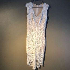 White lace dress with nude lining